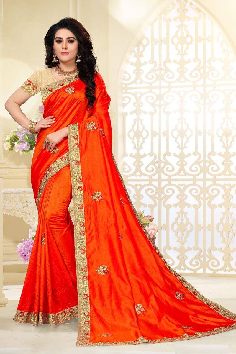 Embroidery Work Designs Orange Color Art Silk Fabric Party Wear Saree