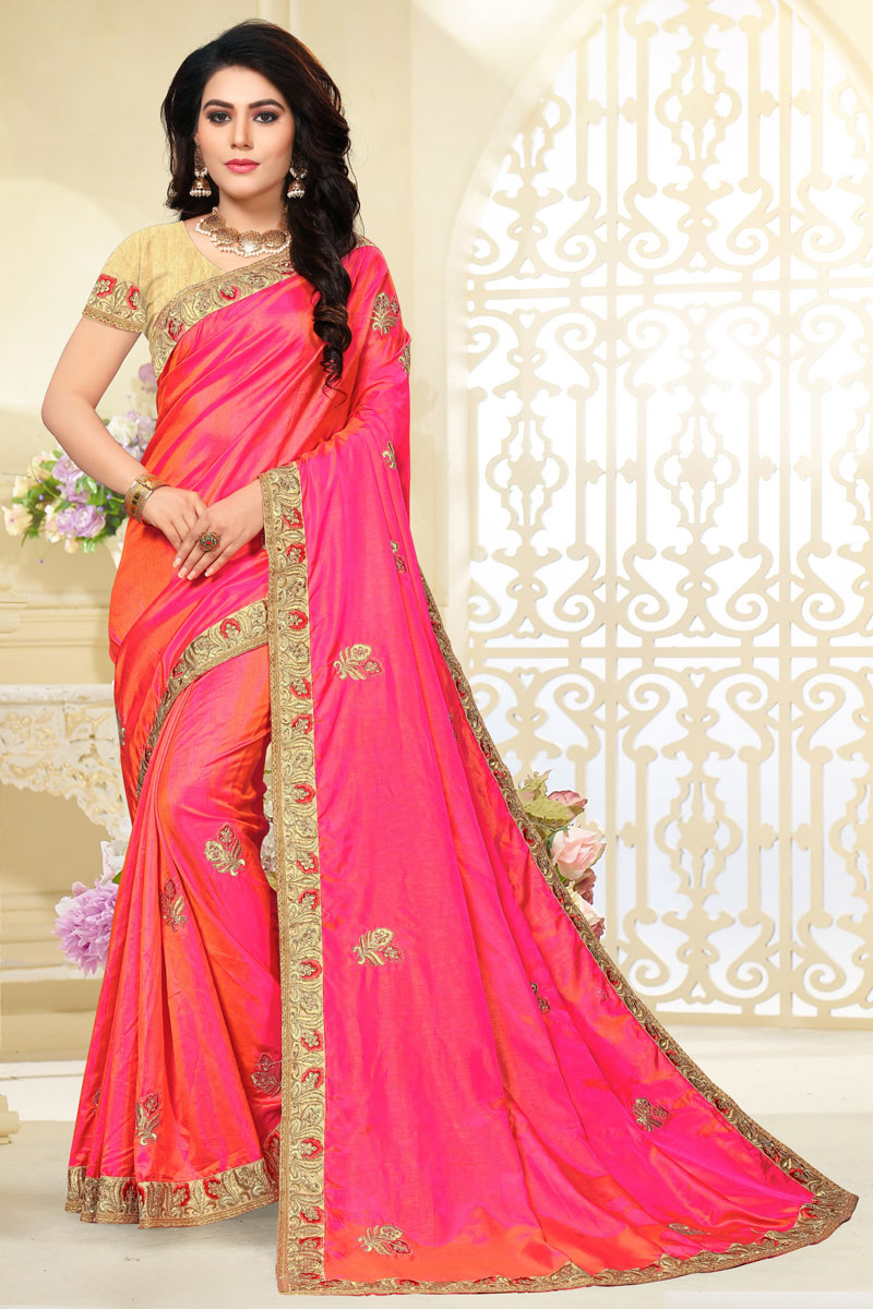 Art Silk Fabric Pink Color Designer Saree With Embroidery Work