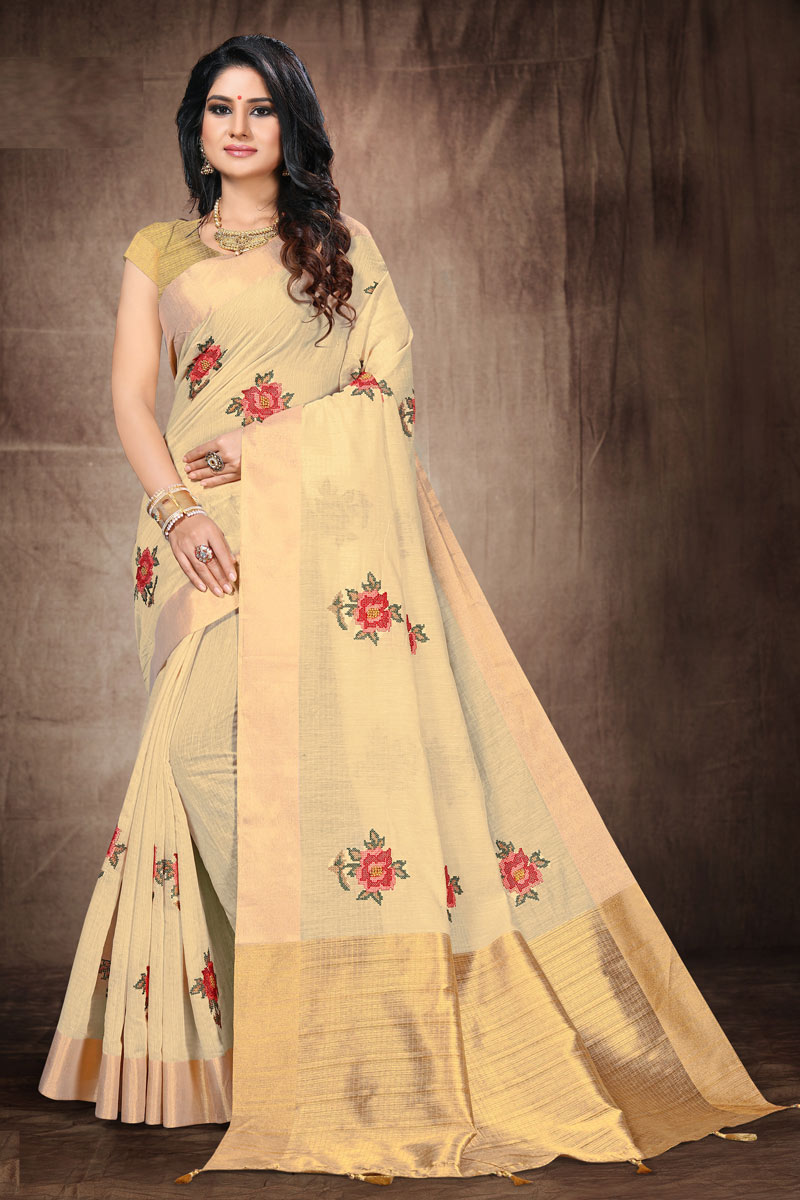 Beige Color Embroidery Work Cotton Fabric Occasion Wear Saree