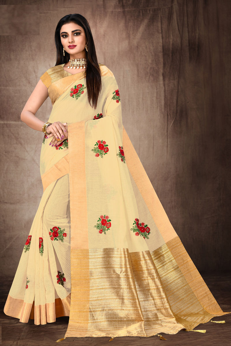Fancy Embroidery Work Beige Color Cotton Fabric Sangeet Wear Saree