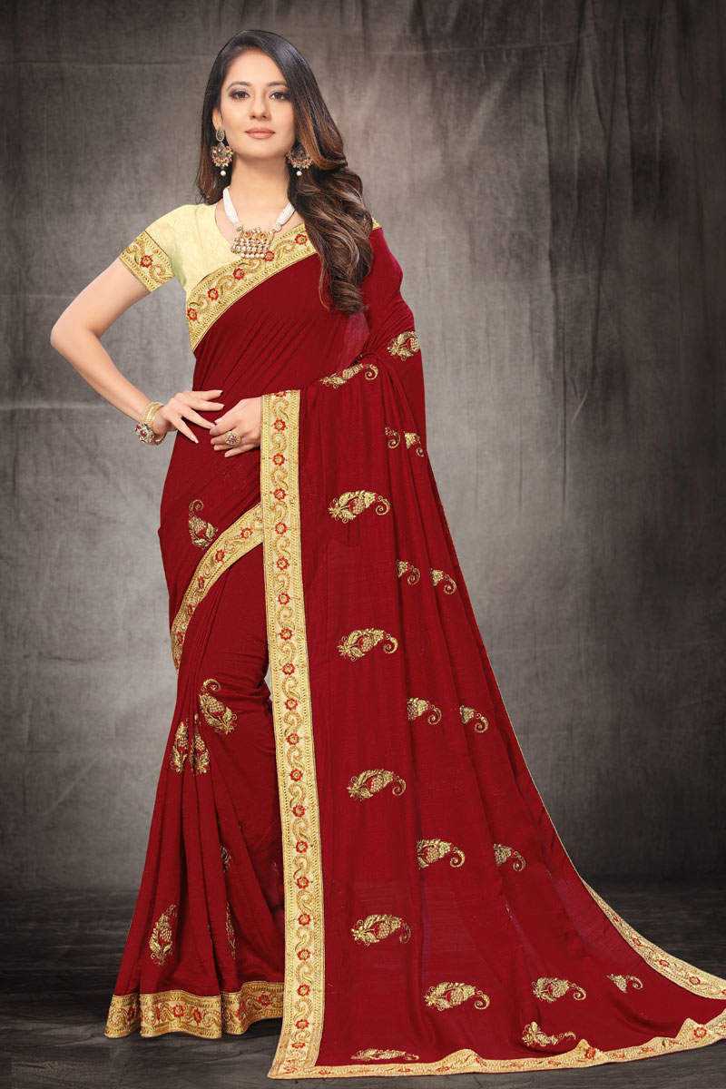 Art Silk Fabric Designer Party Wear Saree In Maroon Color With Embroidery Work