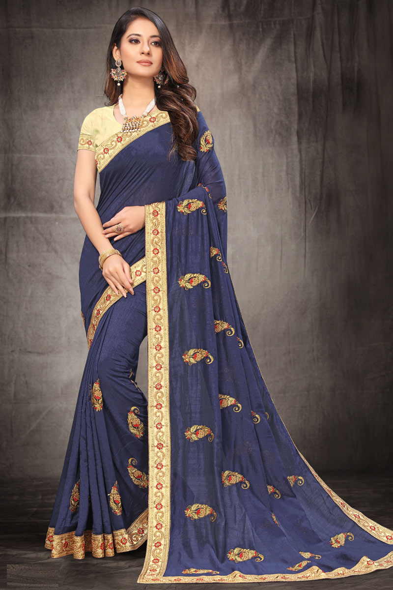 Embroidery Work On Navy Blue Color Art Silk Fabric Saree For Mehendi Ceremony