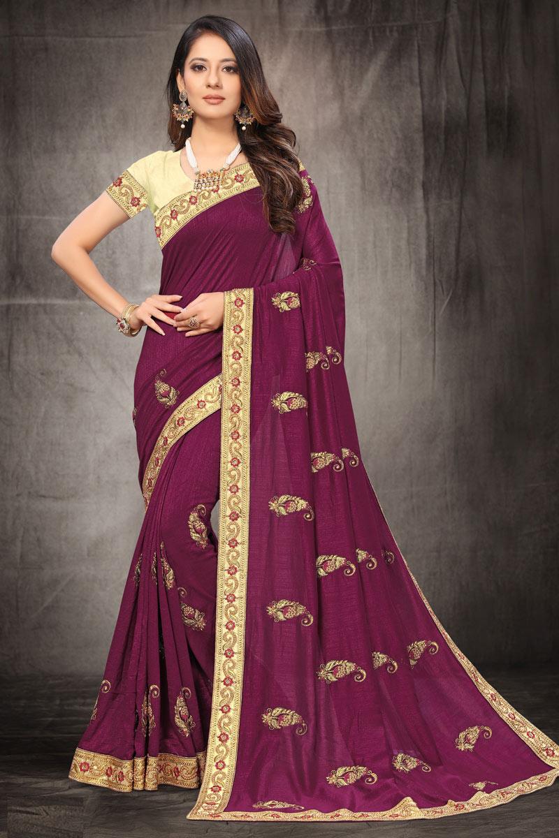 Embroidery Work Purple Color Designer Saree In Art Silk Fabric