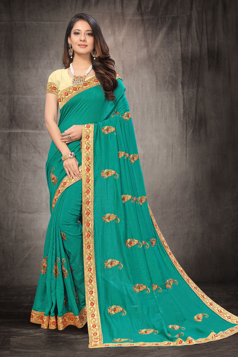 Art Silk Fabric Party Wear Saree In Light Teal Color With Embroidery Work