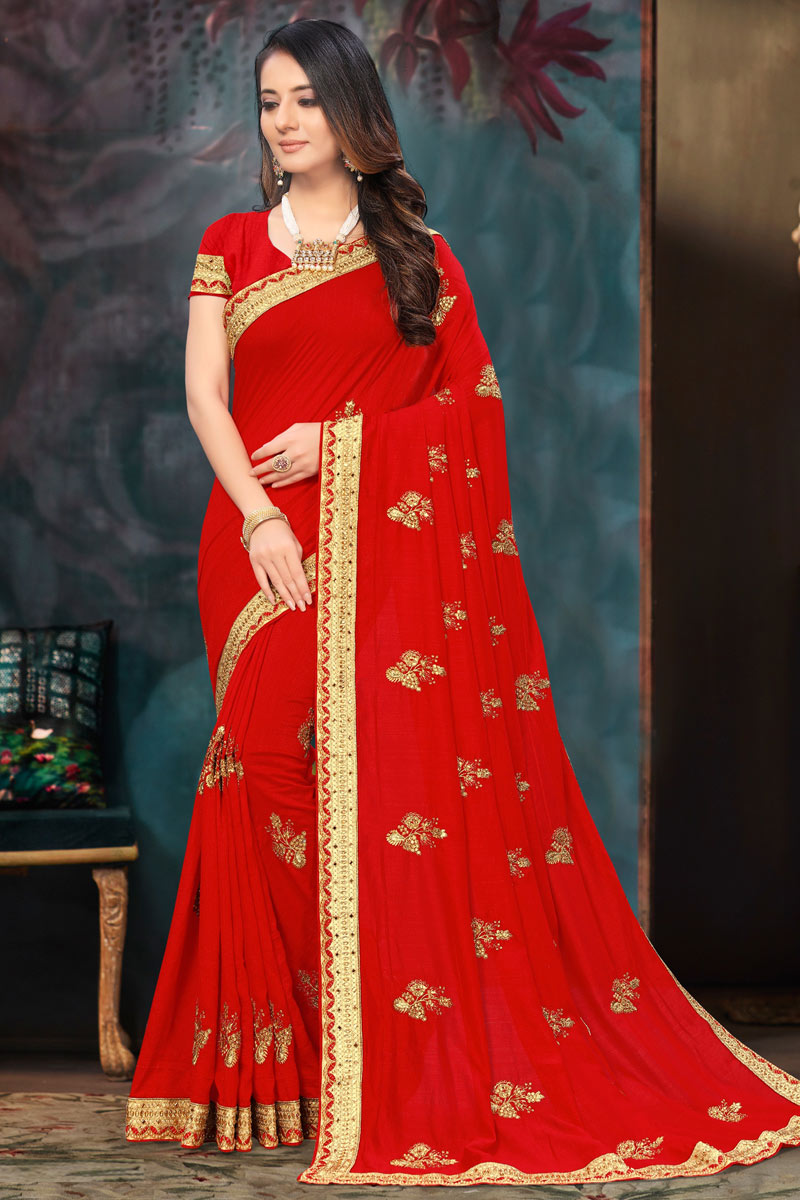 Embroidery Work Red Color Party Wear Saree In Art Silk Fabric