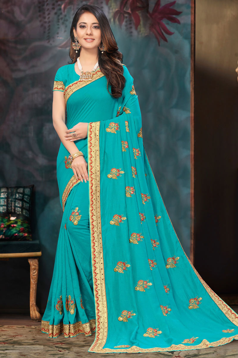 Cyan Color Art Silk Fabric Occasion Wear Saree With Embroidery Work