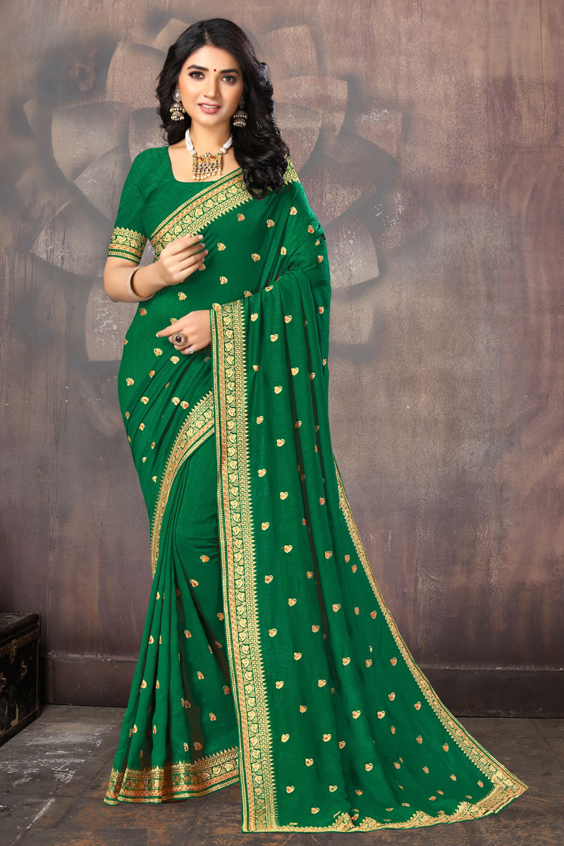 Embroidery Work Designs Art Silk Fabric Function Wear Saree In Green Color