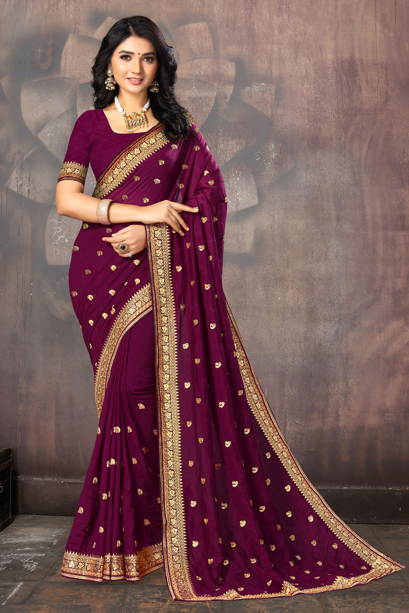 Art Silk Fabric Designer Party Wear Saree In Purple Color With Embroidery Work