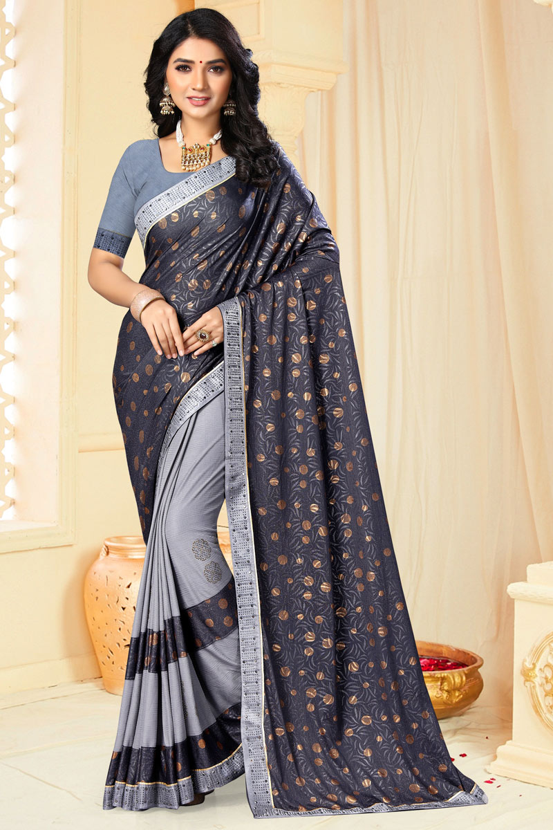 Chiffon Fabric Designer Saree In Grey Color With Embroidery Work