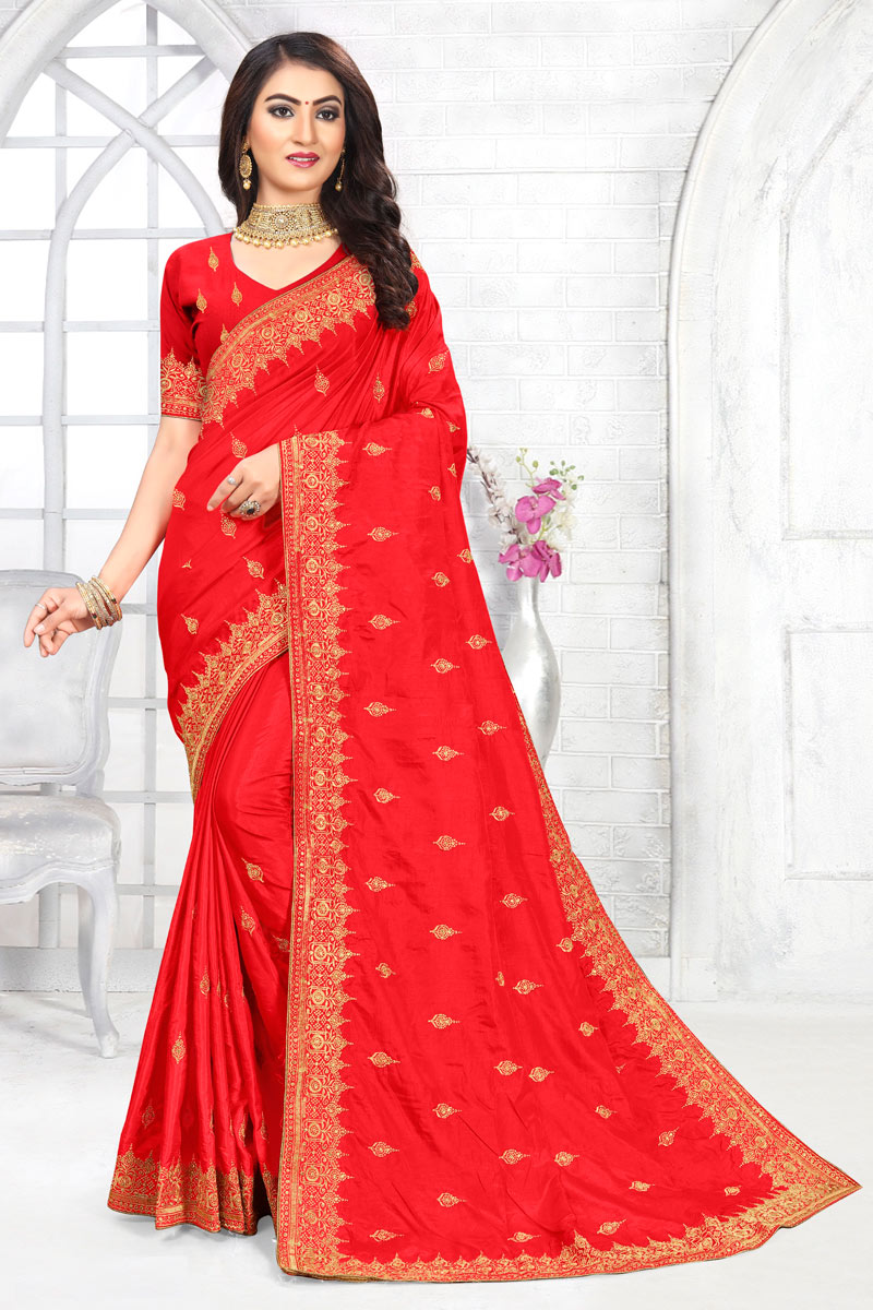 Red Color Embroidery Work Art Silk Fabric Occasion Wear Saree