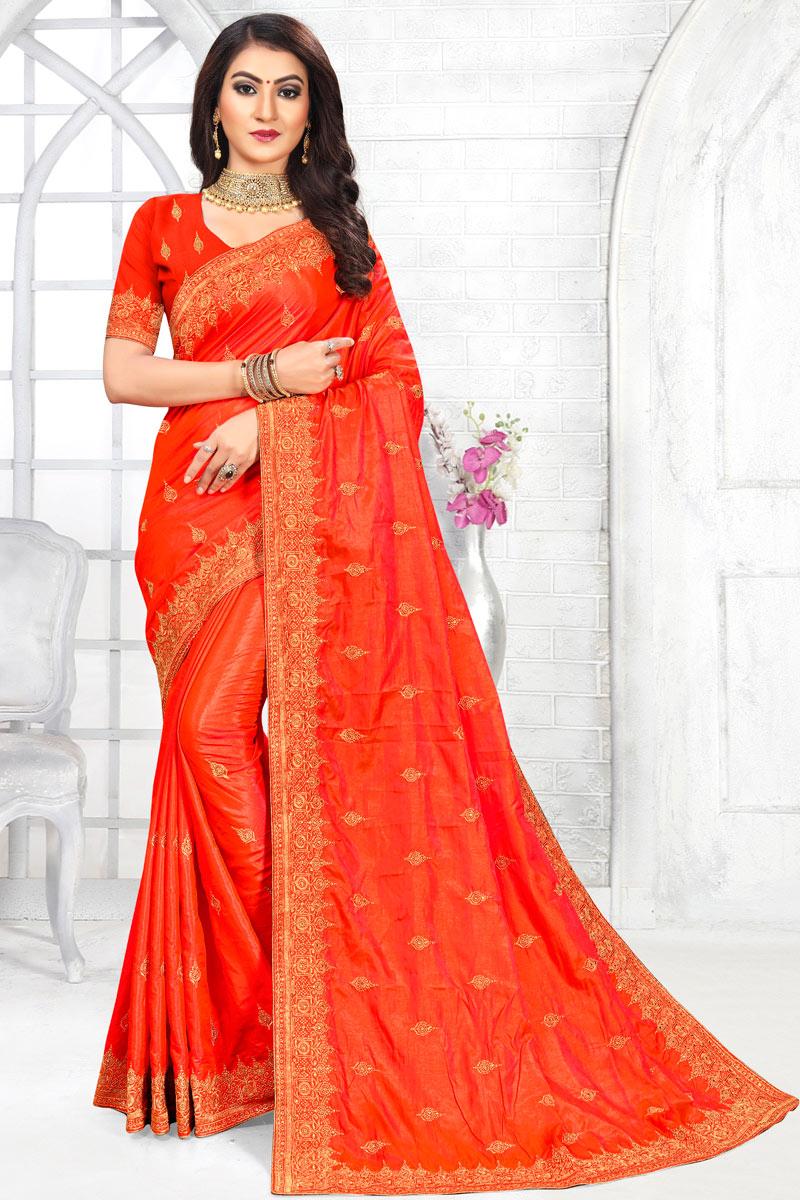 Fancy Embroidery Work Orange Color Art Silk Fabric Sangeet Wear Saree