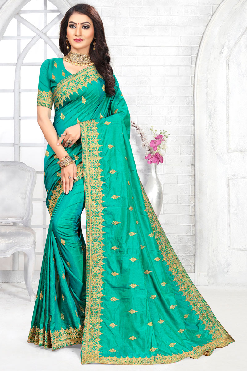 Embroidery Work Designs Art Silk Fabric Light Teal Color Party Wear Saree