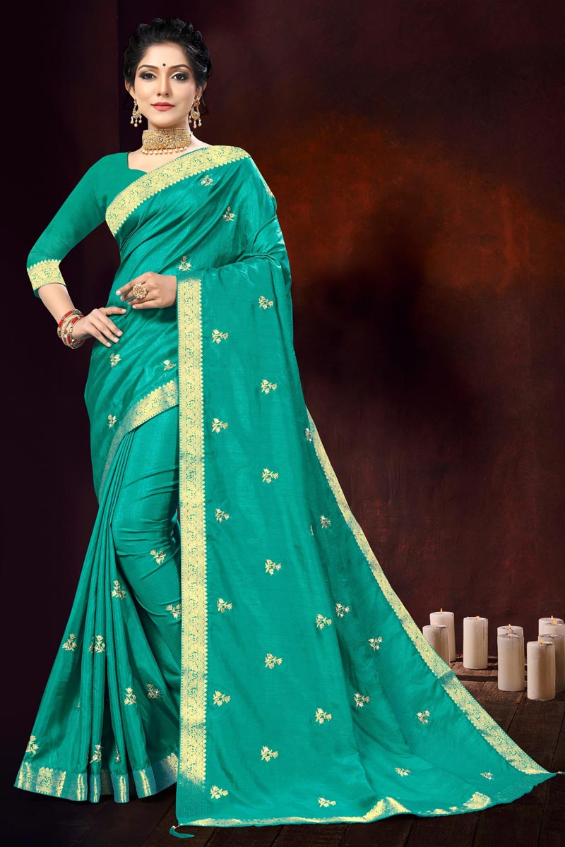 Cyan Color Party Wear Fancy Art Silk Fabric Embroidery Work Saree