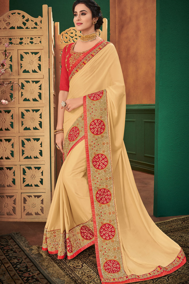 Gorgeous Georgette Fabric Embroidery Work Party Wear Beige Saree