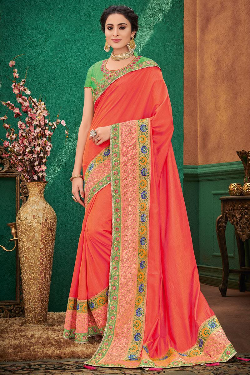 Art Silk Fabric Orange Festive Wear Designer Saree With Embroidery Work