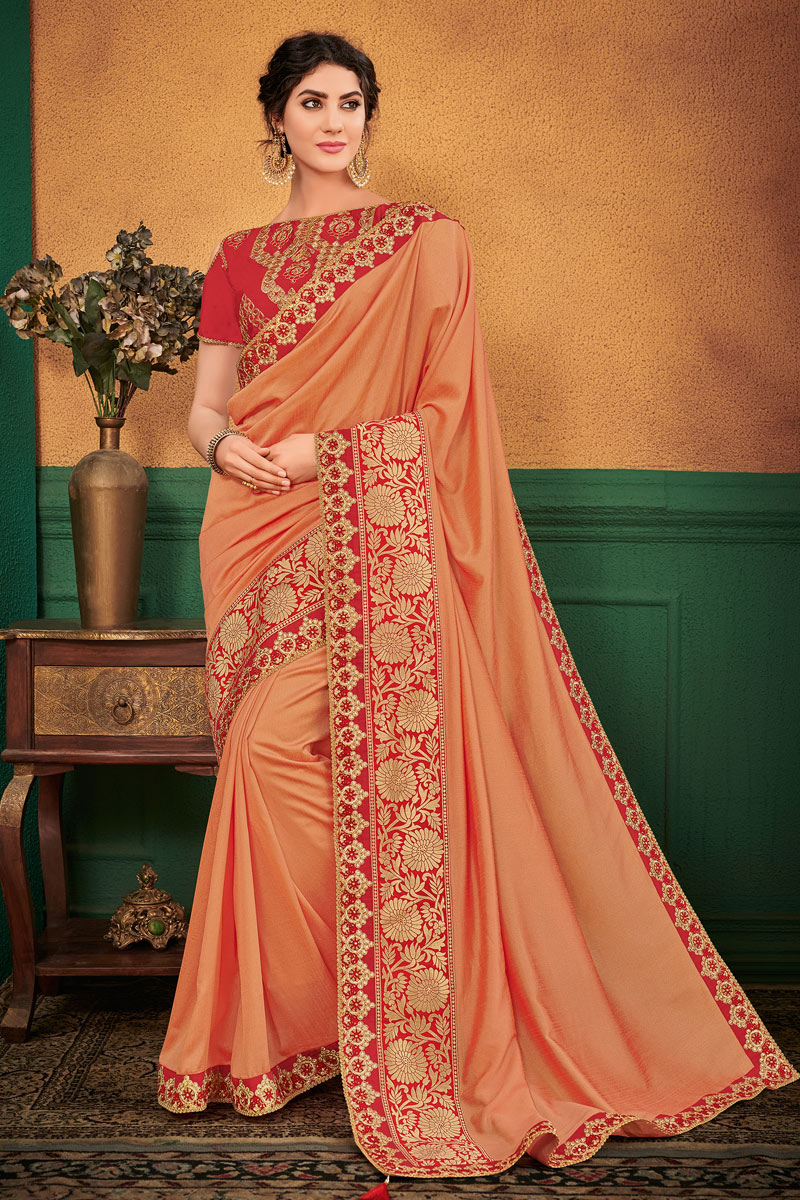 Salmon Designer Saree In Art Silk Fabric With Embroidery Work And Entrancing Blouse
