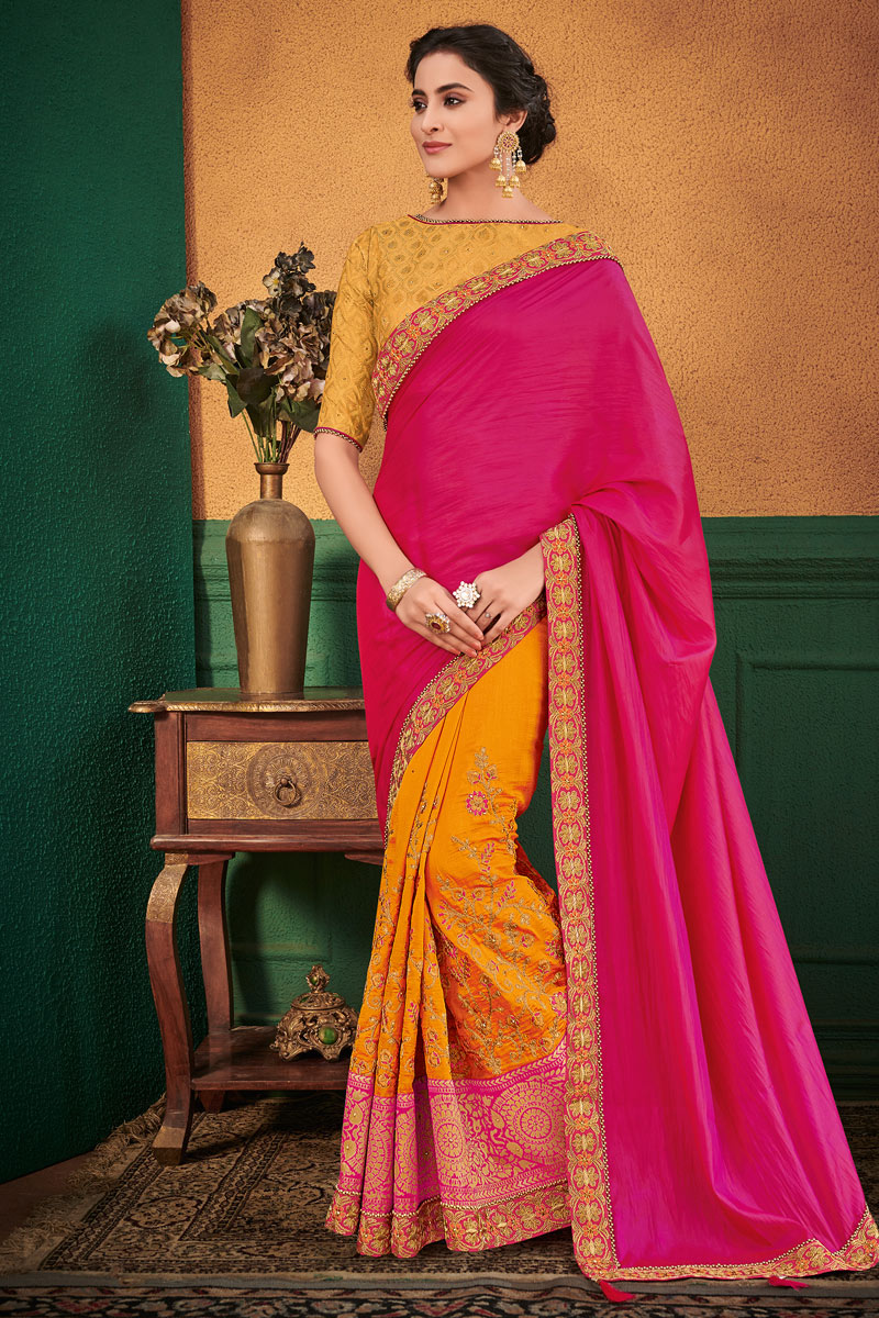 Art Silk Fabric Rani Occasion Wear Saree With Embroidery Work And Charming Blouse