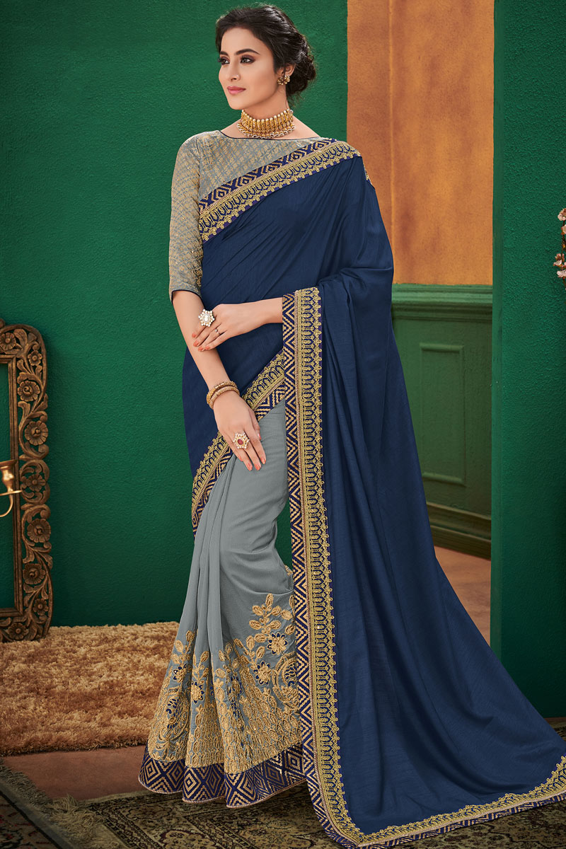 Art Silk Fabric Embroidery Work On Festive Wear Saree In Navy Blue With Mesmeric Blouse
