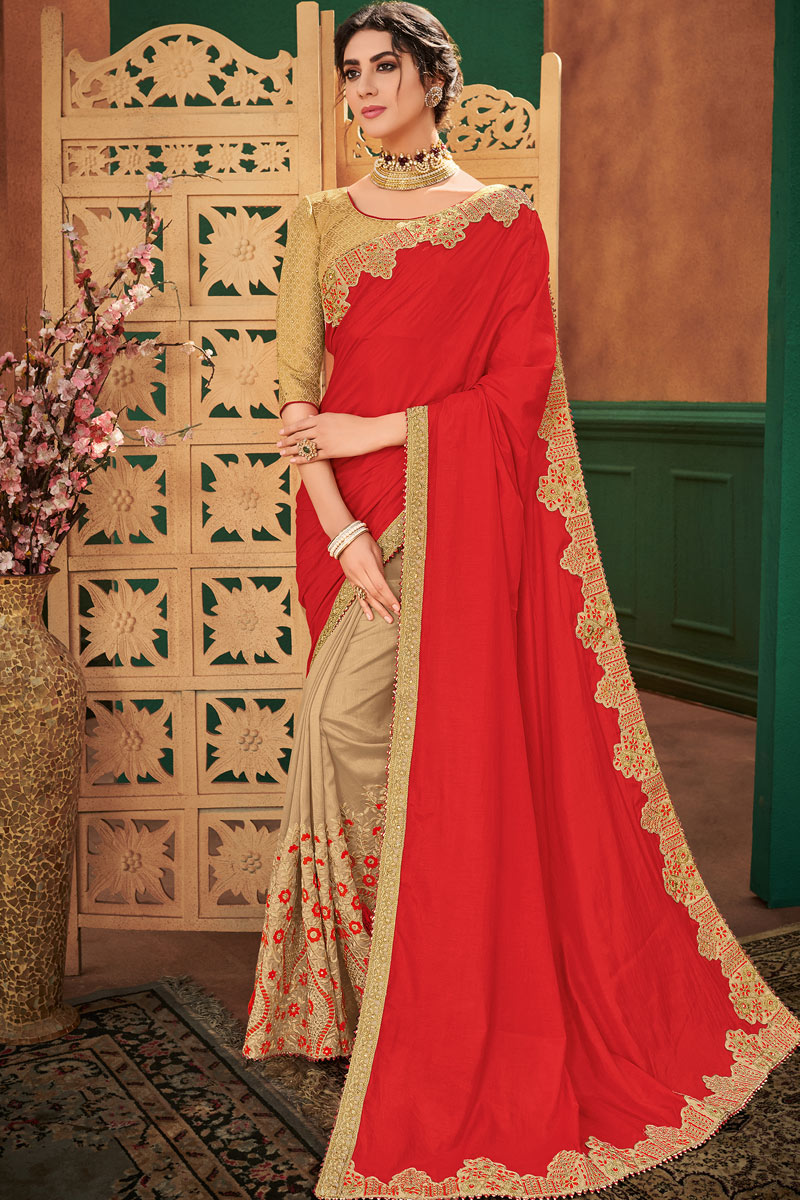 Radiant Embroidery Work On Art Silk Fabric Red Function Wear Fancy Saree