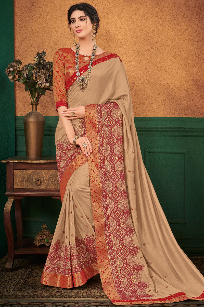 Excellent Cream Art Silk Fabric Designer Saree With Embroidery Work Designs
