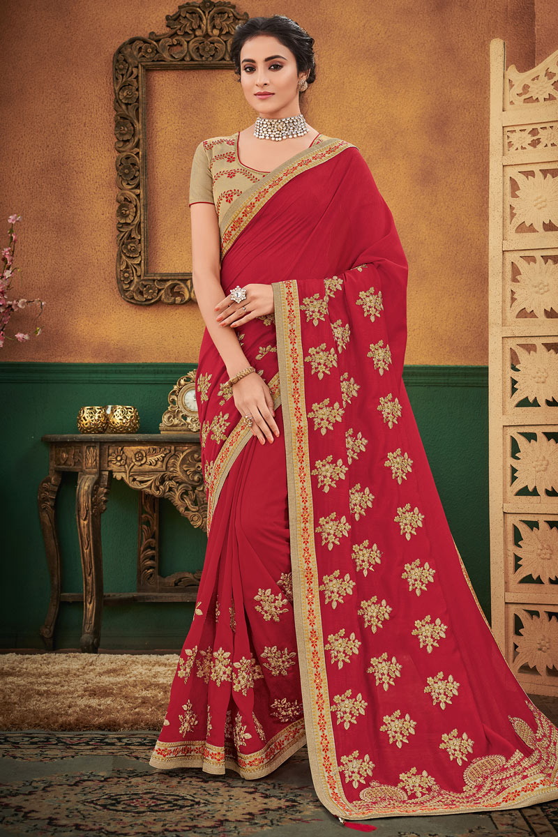 Art Silk Fabric Embroidery Work Designs On Red Occasion Wear Beatific Saree