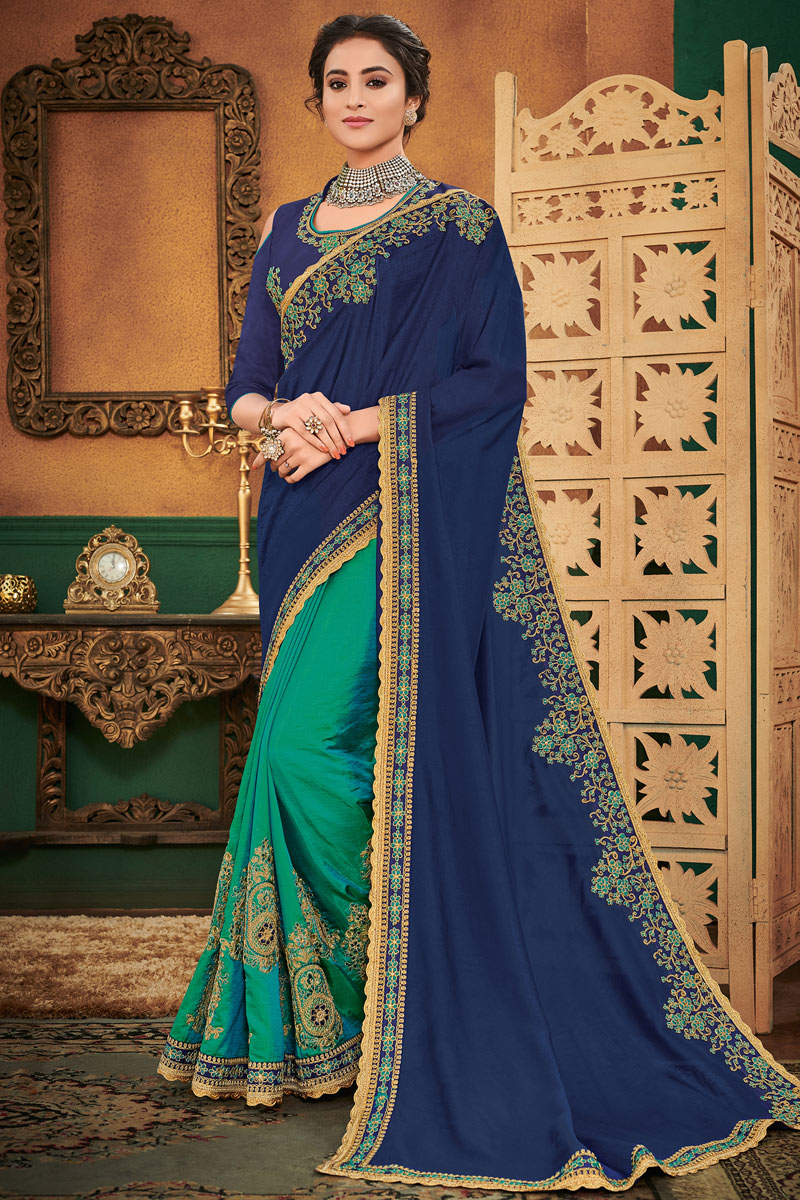 Beguiling Embroidery Work On Art Silk Fabric Navy Blue Festive Wear Saree