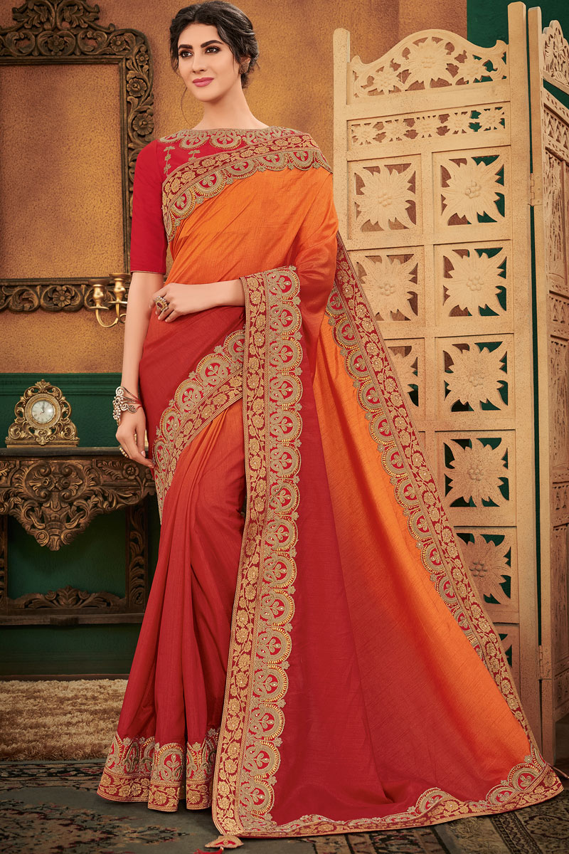 Incredible Embroidery Work On Orange Art Silk Fabric Party Wear Saree