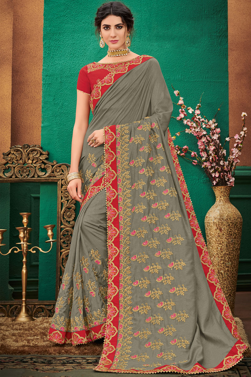 Tempting Grey Art Silk Fabric Function Wear Saree With Embroidery Work