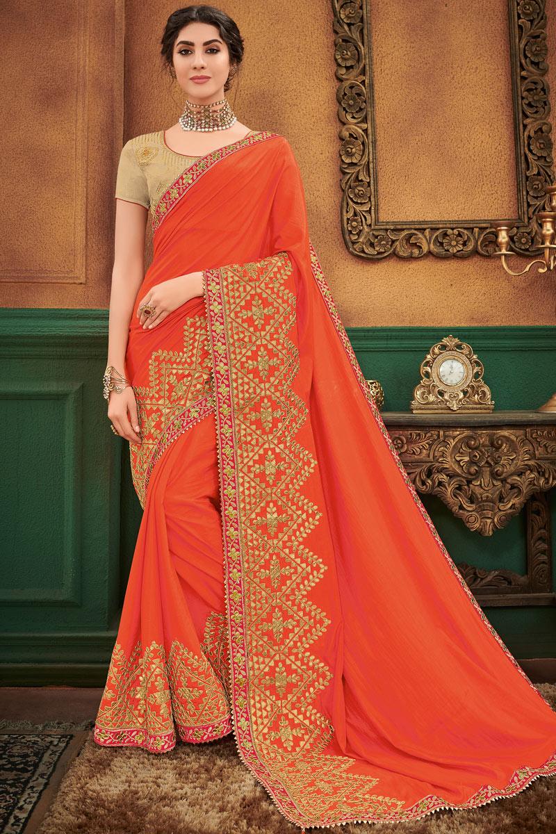 Engaging Art Silk Fabric Orange Designer Saree With Embroidery Work