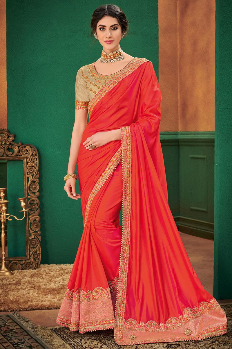 Classic Embroidery Work Designs On Art Silk Fabric Occasion Wear Saree In Orange