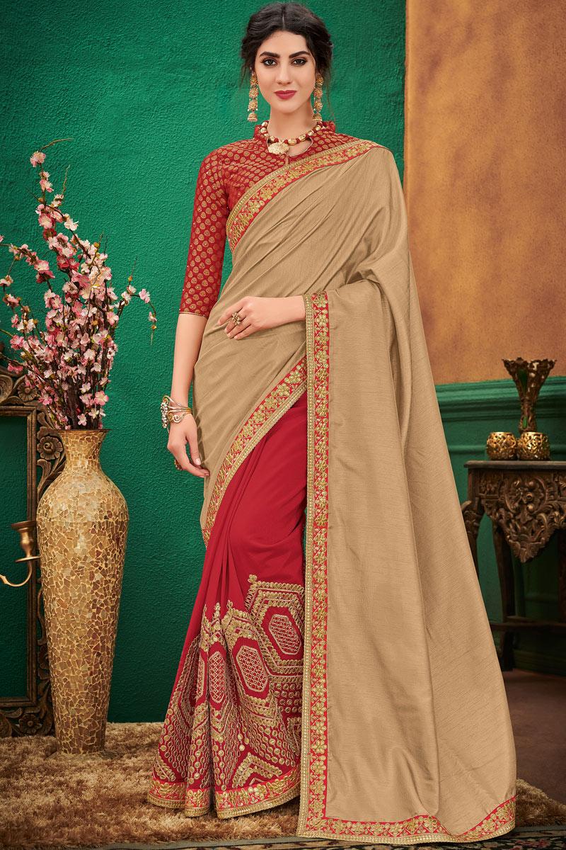 Cream Art Silk Fabric Festive Wear Saree With Winsome Embroidery Work