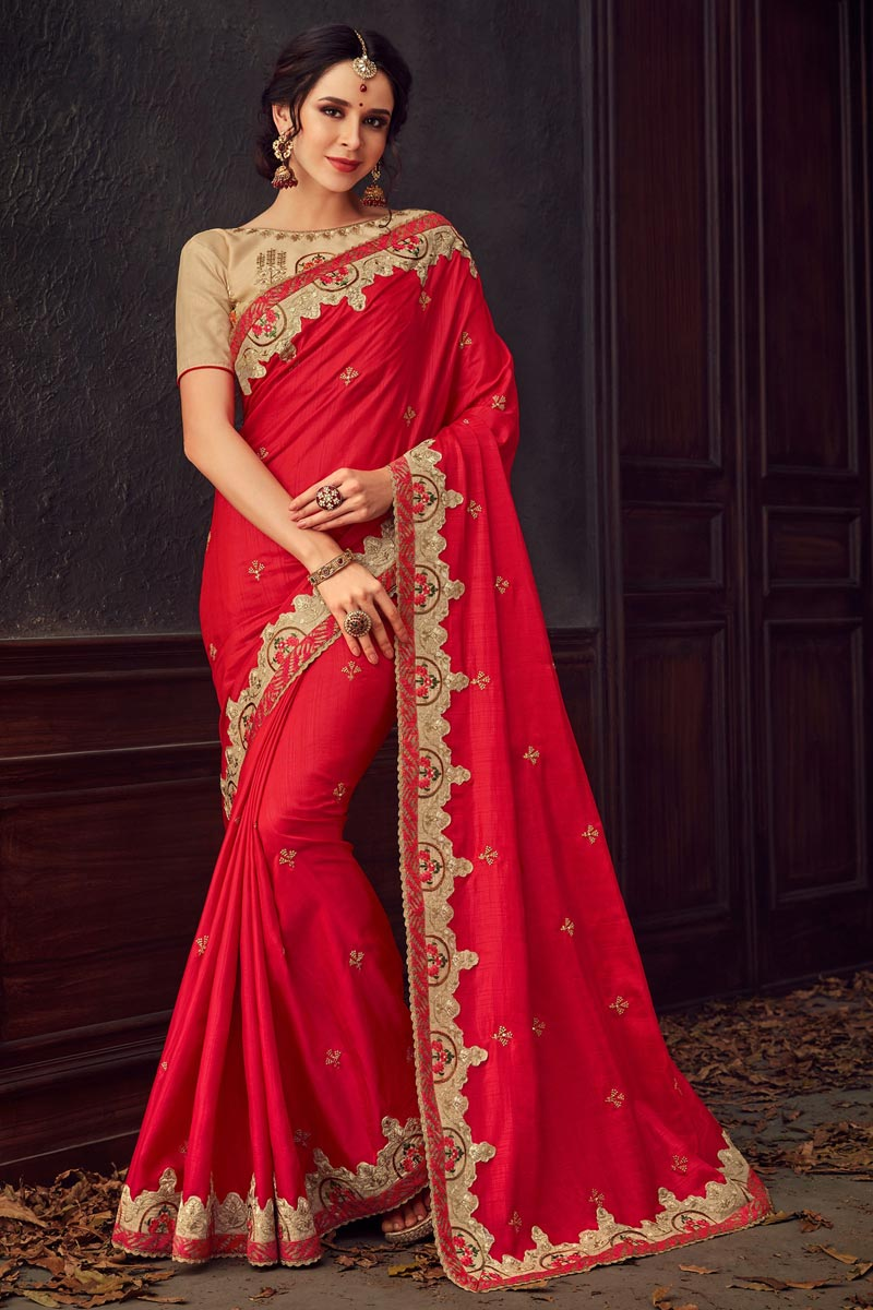 Traditional Wear Fancy Art Silk Fabric Thread Embroidered Saree In Red