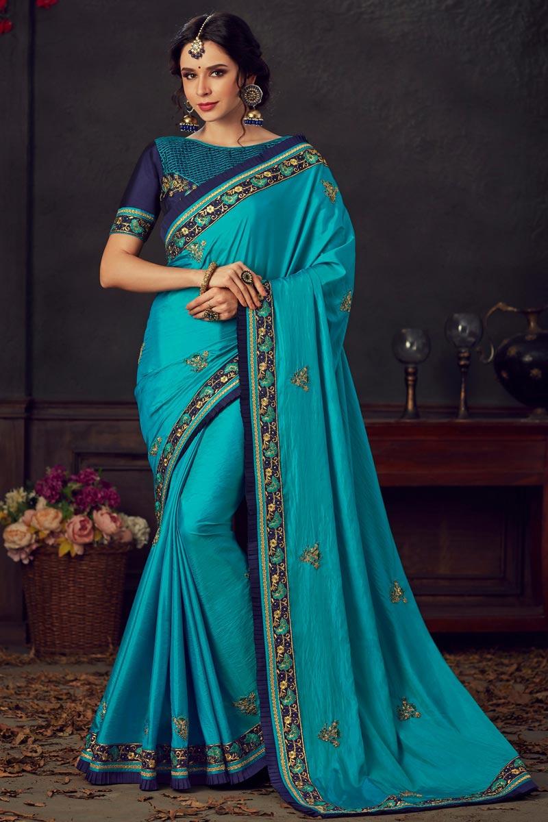 Eid Special Art Silk Fabric Fancy Traditional Wear Sky Blue Thread Embroidered Saree