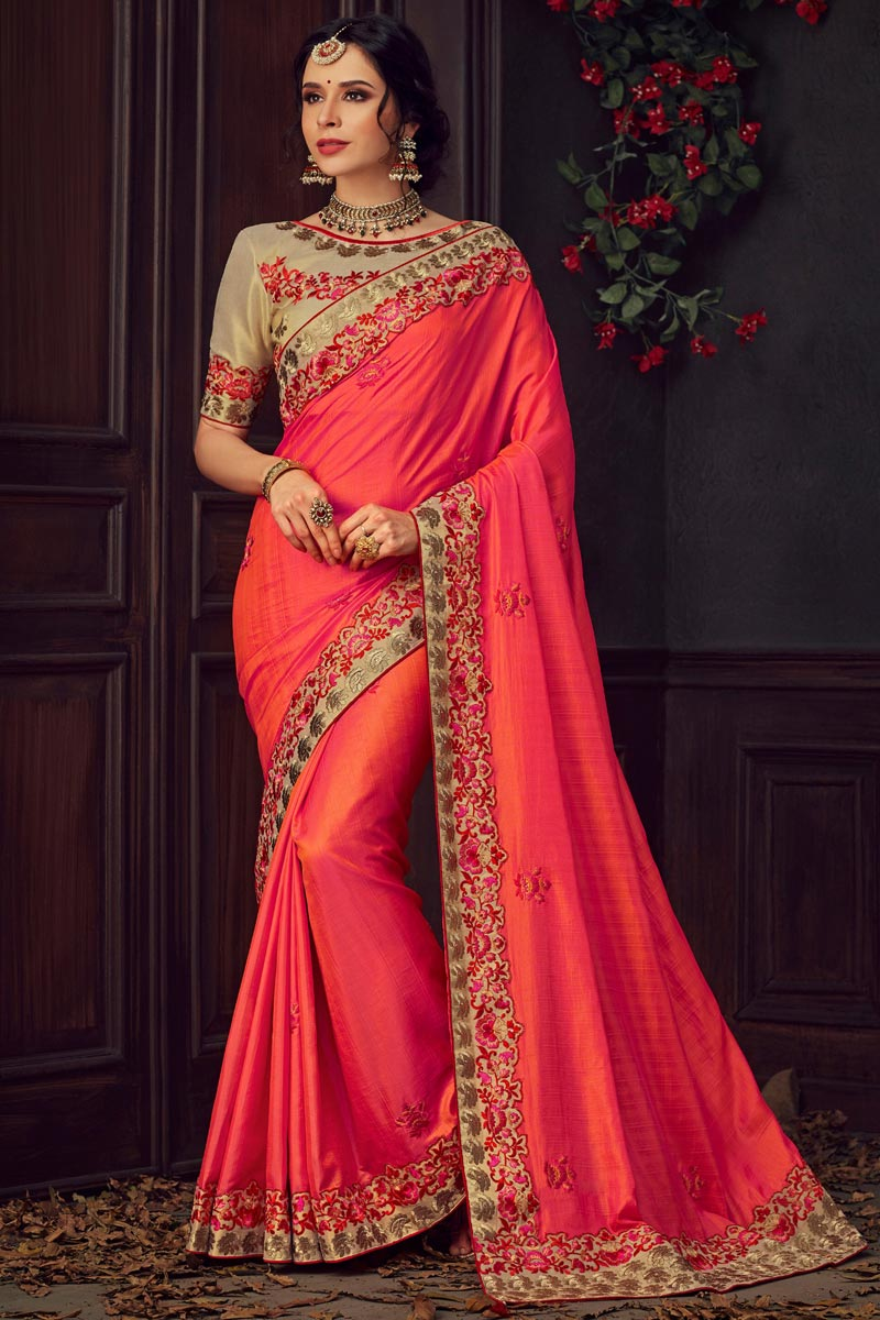 Eid Special Traditional Wear Fancy Red Thread Embroidered Saree In Art Silk Fabric