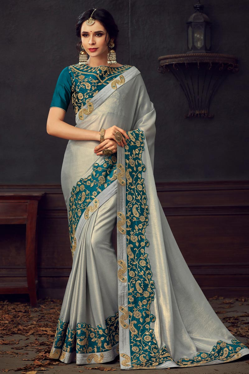 Traditional Wear Fancy Grey Thread Embroidered Saree In Art Silk Fabric