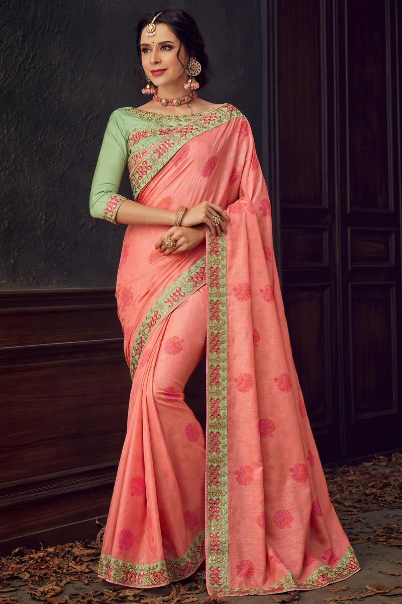 Pink Fancy Art Silk Fabric Traditional Wear Thread Embroidered Saree