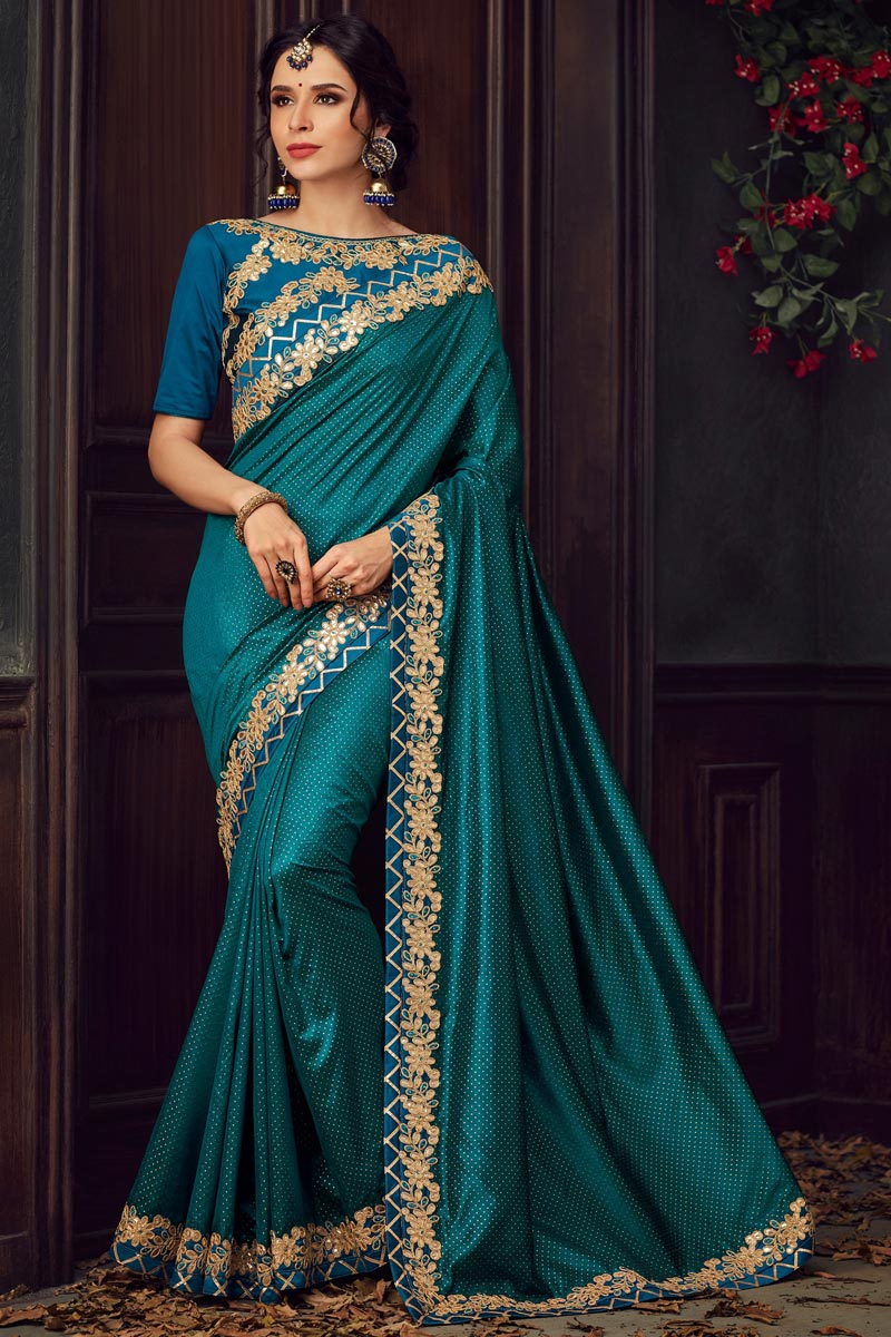 Fancy Traditional Wear Teal Art Silk Fabric Thread Embroidered Saree