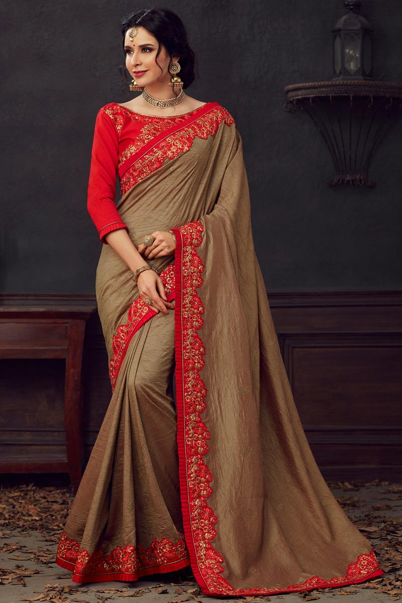 Brown Fancy Traditional Wear Art Silk Fabric Thread Embroidered Saree
