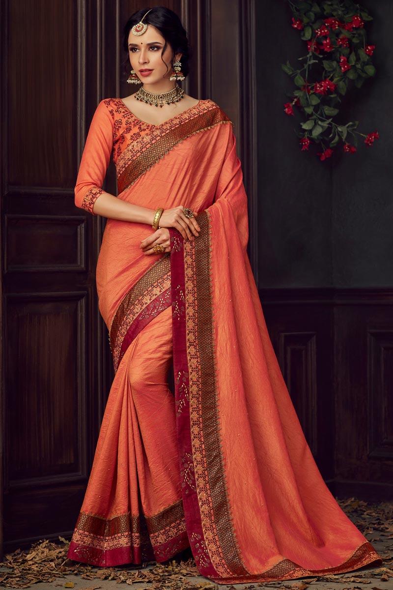 Eid Special Art Silk Fabric Fancy Orange Sangeet Wear Thread Embroidered Saree