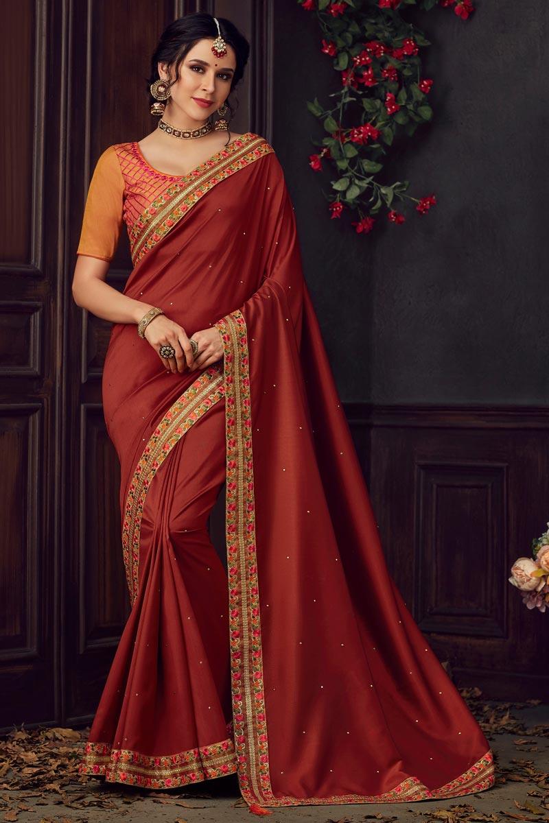 Eid Special Fancy Art Silk Fabric Sangeet Wear Maroon Thread Embroidered Saree