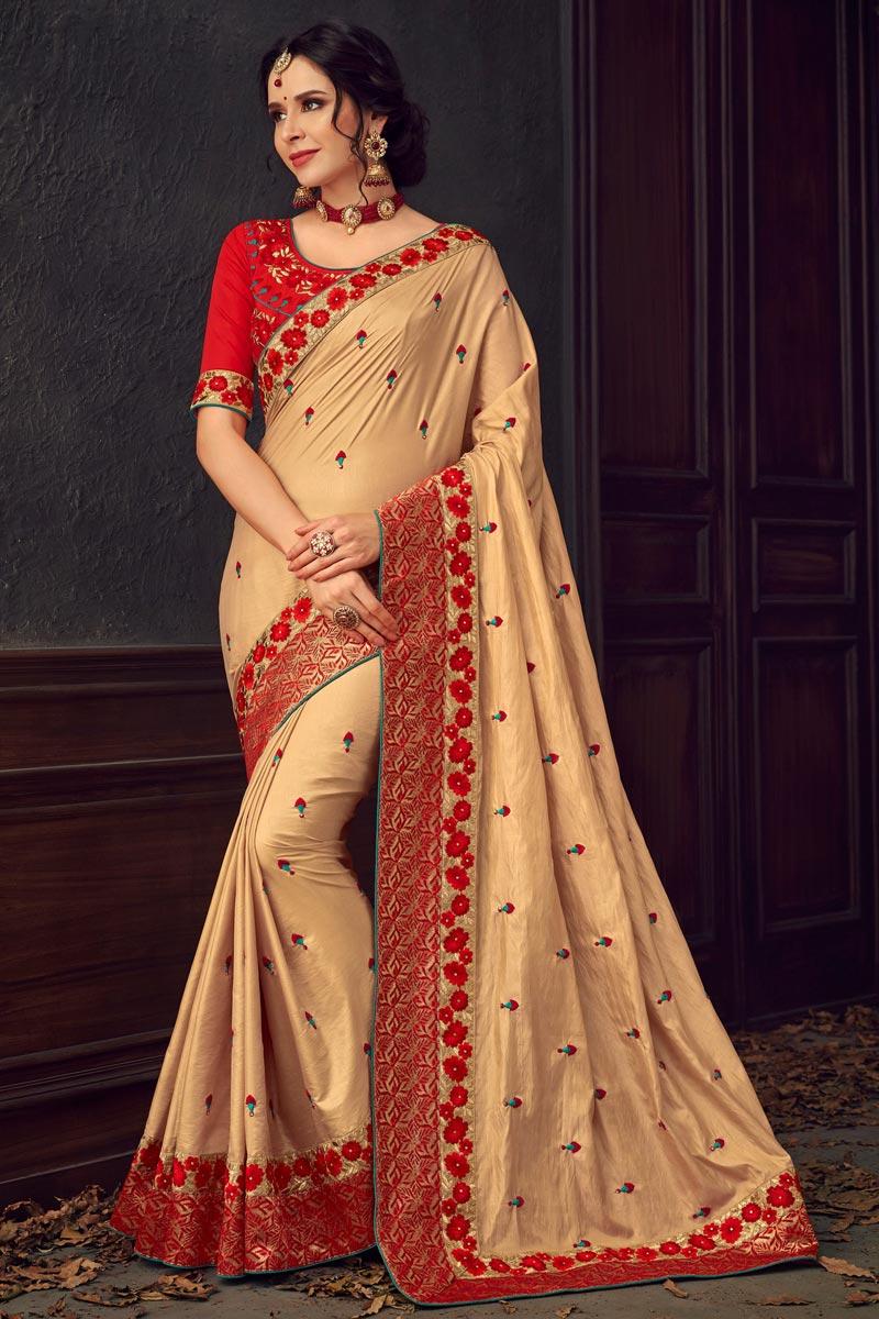 Sangeet Wear Fancy Beige Thread Embroidered Saree In Art Silk Fabric