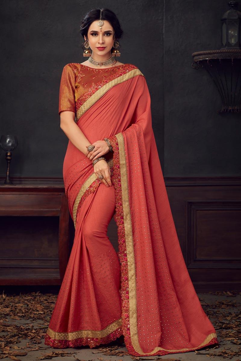 Sangeet Wear Fancy Peach Thread Embroidered Saree In Art Silk Fabric