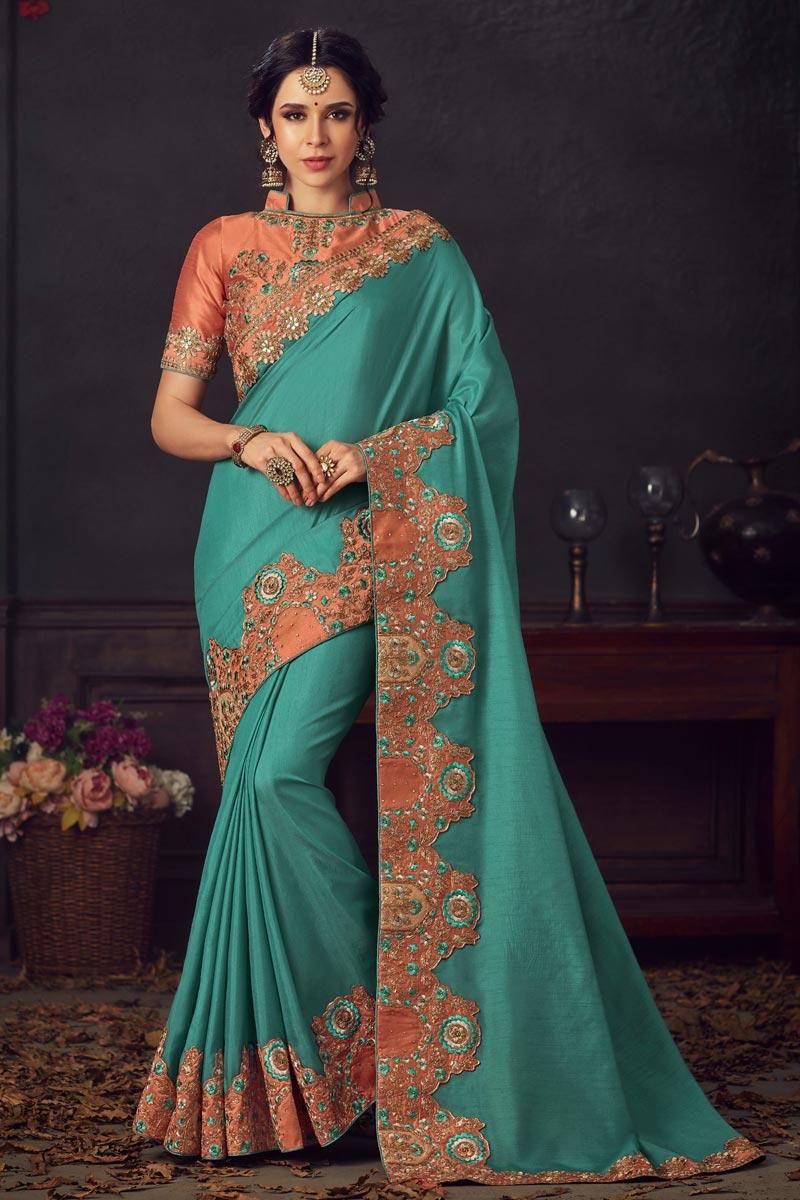 Cyan Fancy Sangeet Wear Art Silk Fabric Thread Embroidered Saree
