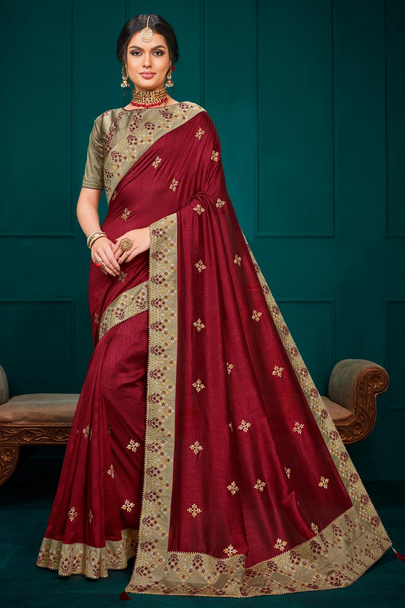 Art Silk Fabric Sangeet Wear Maroon Color Embroidery Work Saree