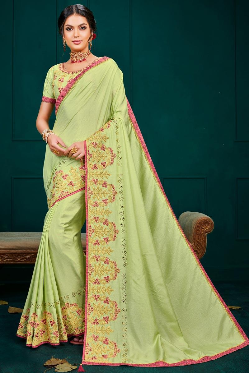 Sea Green Color Designer Saree In Art Silk Fabric