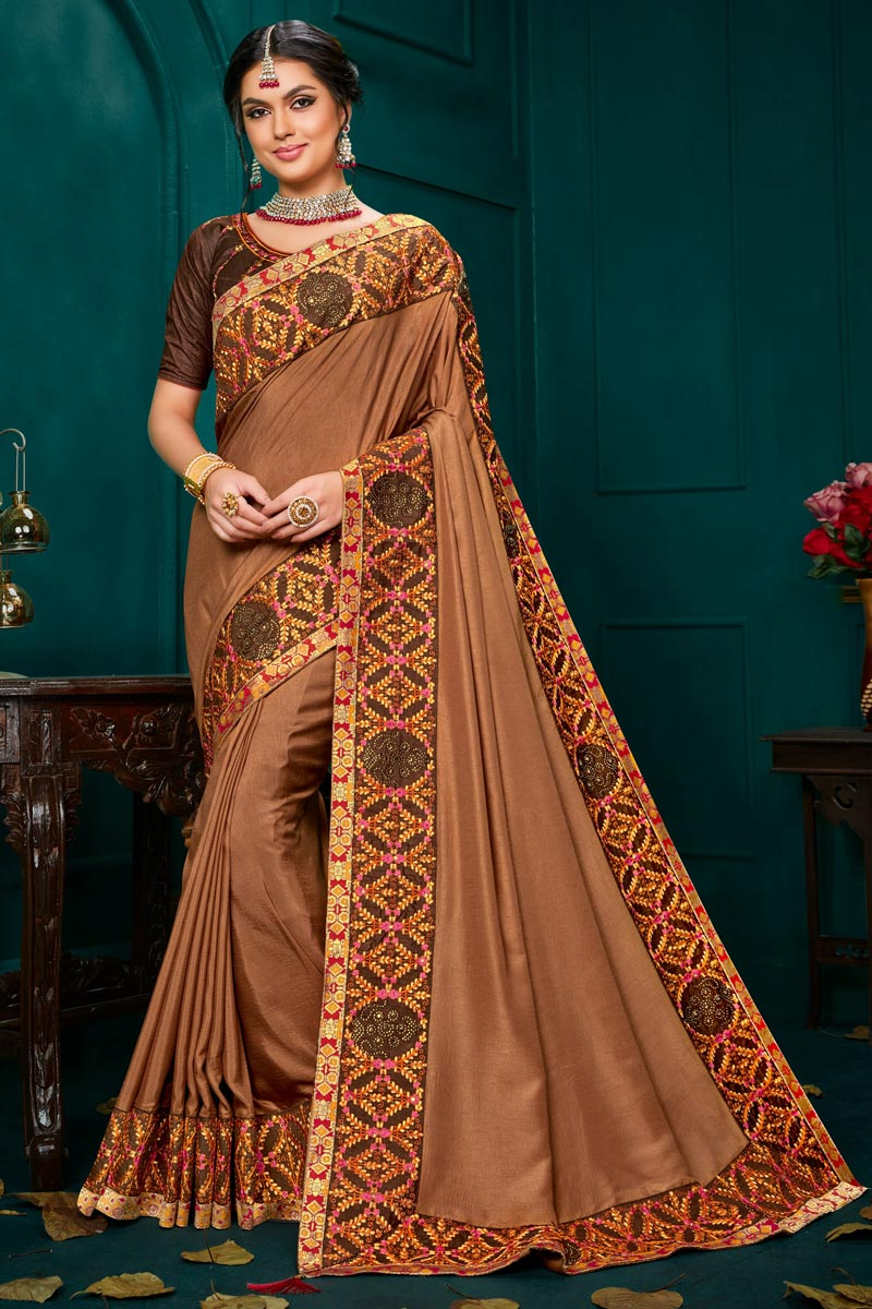 Light Brown Color Traditional Saree In Art Silk Fabric