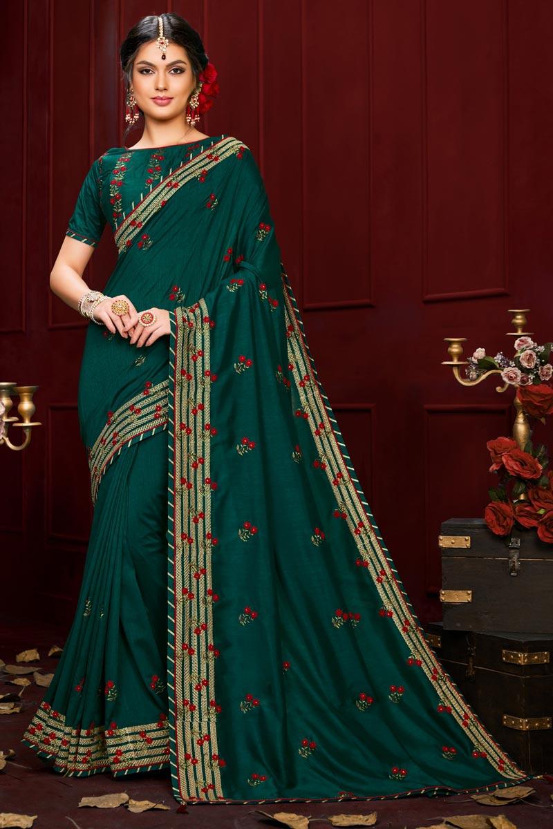 Designer Teal Color Art Silk Fabric Party Wear Saree