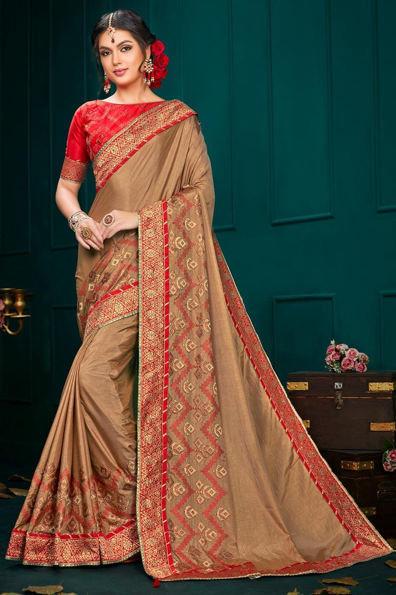 Art Silk Fabric Light Brown Color Designer Saree