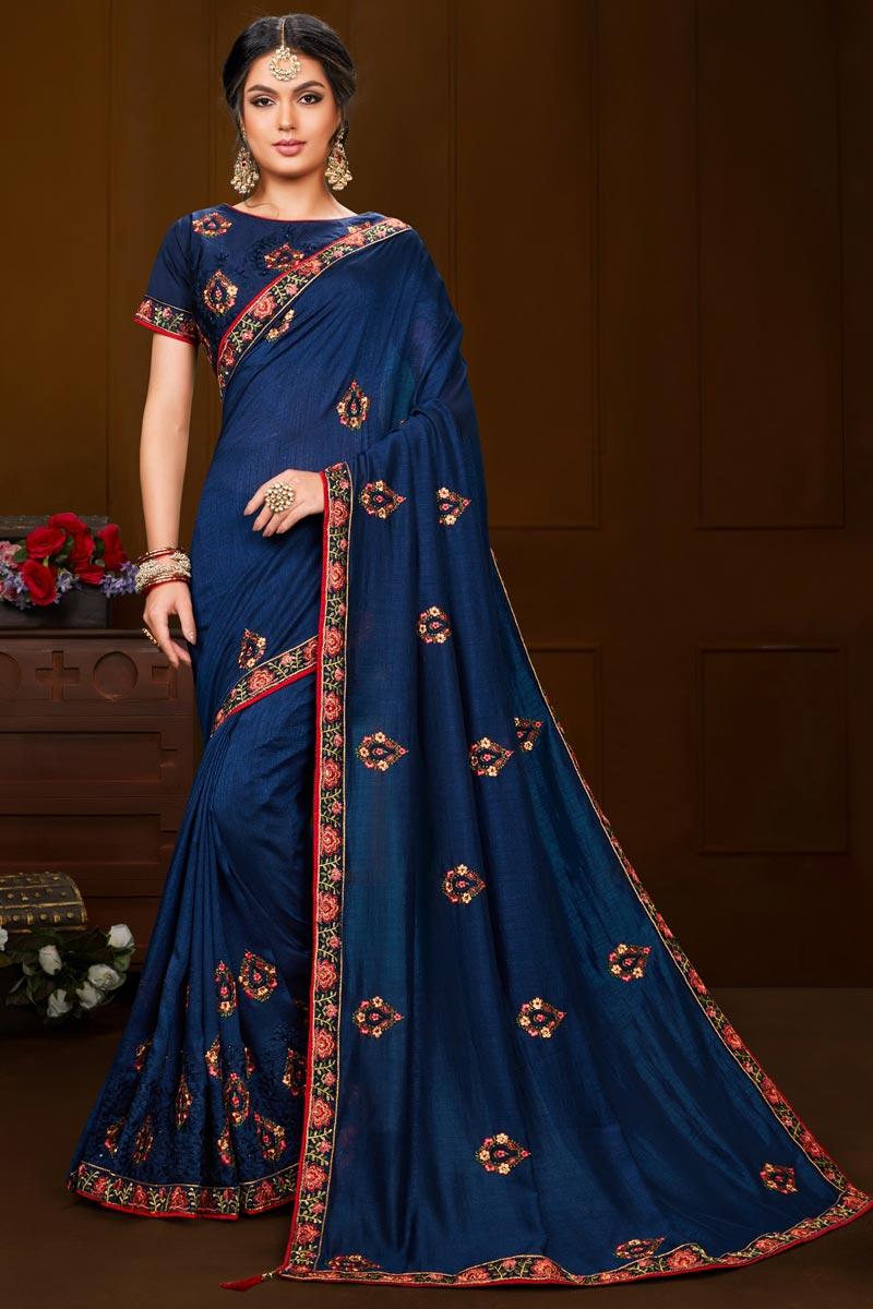Navy Blue Color Art Silk Fabric Saree For Mehendi Ceremony