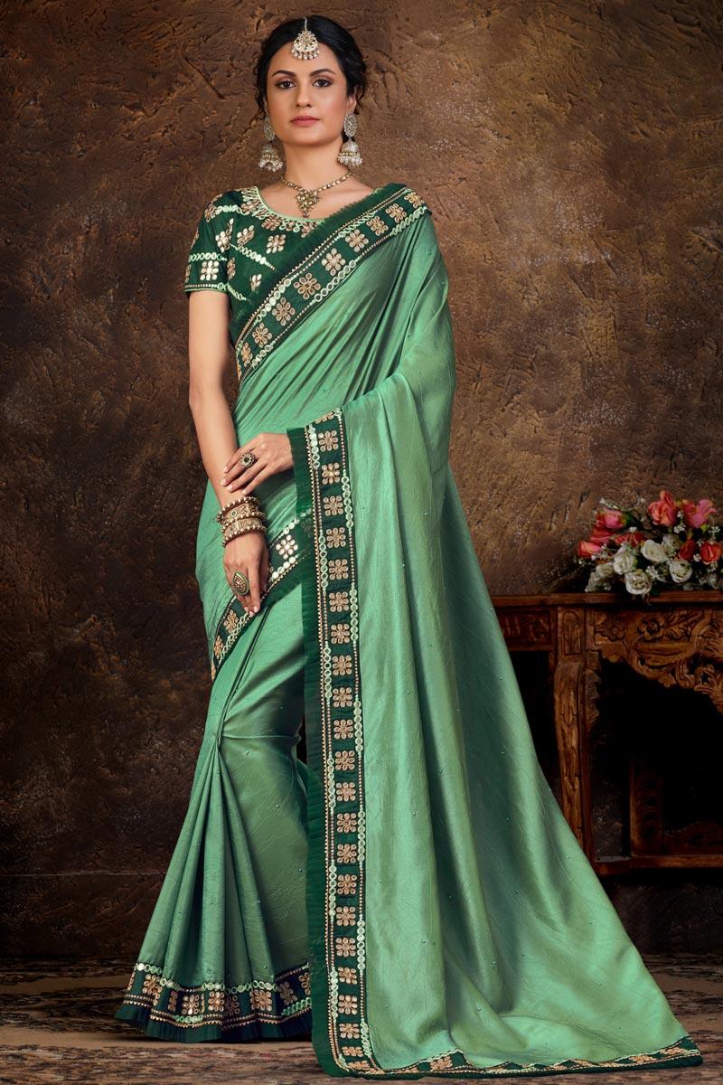 Sea Green Color Lace Work Function Wear Stylish Saree In Art Silk Fabric